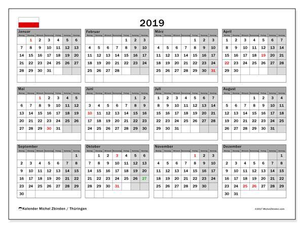 Kalender 2019, mit den Feiertagen in Thüringen. Kalender mit Feiertagen zum kostenlosen ausdrucken.
