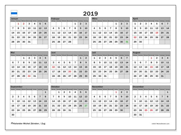 2019 Kalender  - Zug. Kalender zum drucken: Offizielle Feiertage.