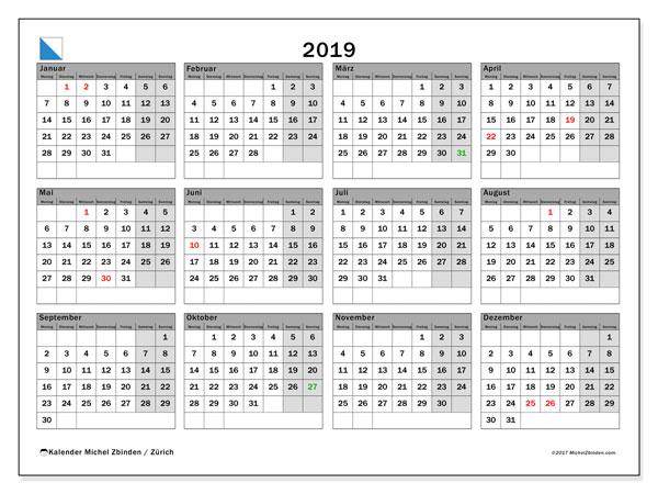 Kalender für 2019, , mit Feiertagen des Kantons Zürich. Kalender zum kostenlosen ausdrucken.