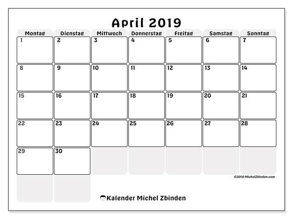 Kalender April 2019, 44MS. Kalender für den Monat zum kostenlosen ausdrucken.