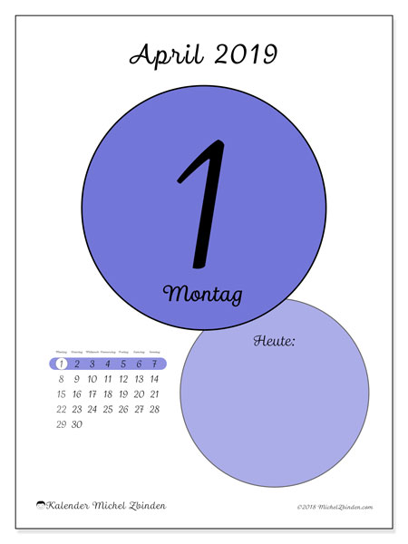 Kalender April 2019, 45-1MS. Kalender für den Tag, um kostenlos zu drucken.