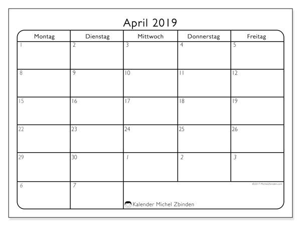 Kalender April 2019, 74MF. Kostenlos ausdruckbare Zeitplan.