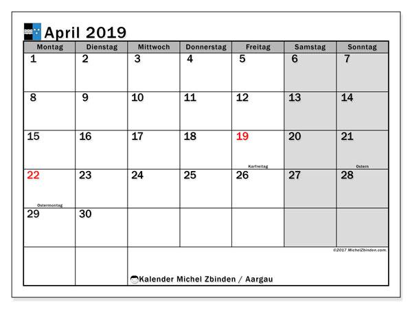 April 2019 Kalender  - Aargau. Kalender zum drucken: Offizielle Feiertage.