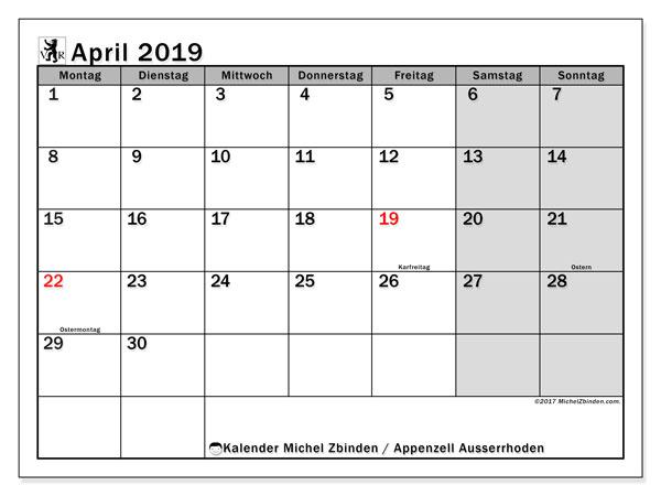 Kalender für April 2019, , mit Feiertagen des Kantons Apenzell Ausserrhoden. Monatlicher Kalender zum kostenlosen ausdrucken.