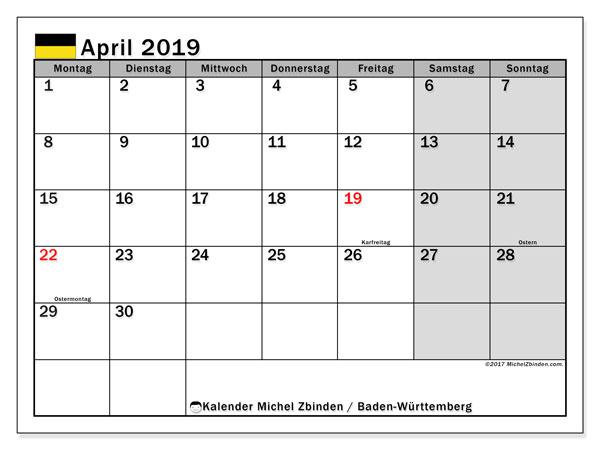 Kalender für April 2019, mit Feiertagen Baden-Württemberg. Planer zum kostenlosen ausdrucken.