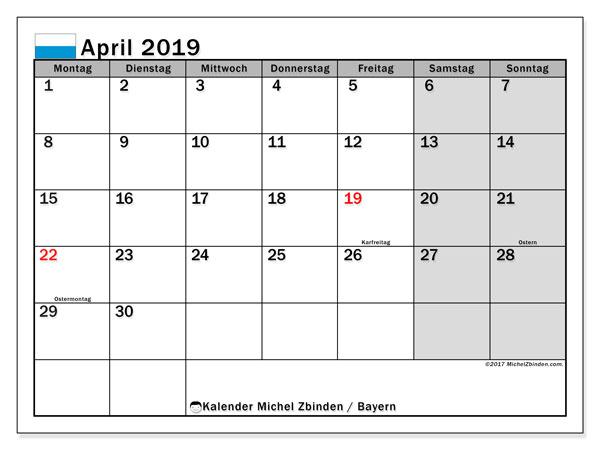 Kalender für April 2019, mit Feiertagen Bayern. Kostenloser Zeitplan zum ausdrucken.
