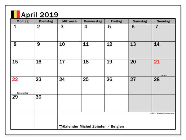 Kalender für April 2019, mit Feiertagen in Belgien. Kalender zum kostenlosen ausdrucken.