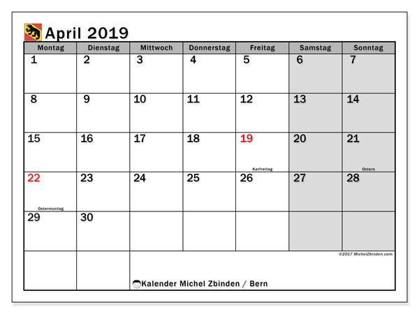 Kalender für April 2019, mit Feiertagen des Kantons Bern. Planer zum kostenlosen ausdrucken.