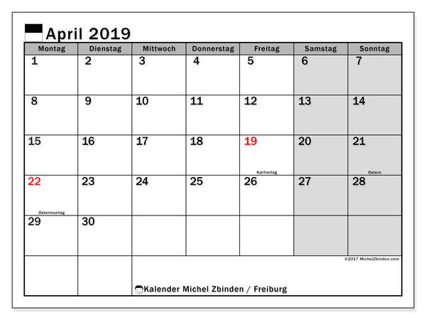 Kalender für April 2019, mit Feiertagen des Kantons Freiburg. Monatlicher Kalender zum kostenlosen ausdrucken.