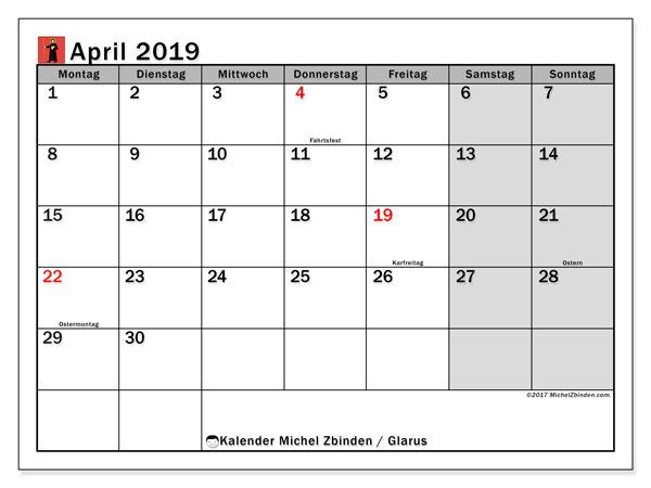 Kalender für April 2019, mit Feiertagen des Kantons Glarus. Kostenloser Zeitplan zum ausdrucken.