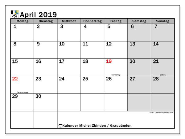 Kalender für April 2019, mit Feiertagen des Kantons Graubünden. Monatlicher Zeitplan zum kostenlosen ausdrucken.