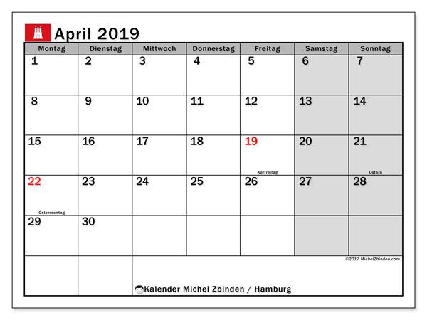 Kalender für April 2019, mit Feiertagen Hamburg. Monatlicher Kalender zum kostenlosen ausdrucken.