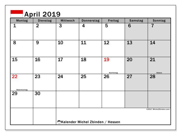Kalender für April 2019, mit Feiertagen Hessen. Kostenlos ausdruckbare Zeitplan.
