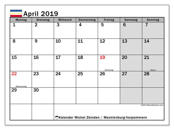 Kalender für April 2019, mit Feiertagen Mecklenburg-Vorpommern. Zeitplan zum kostenlosen ausdrucken.