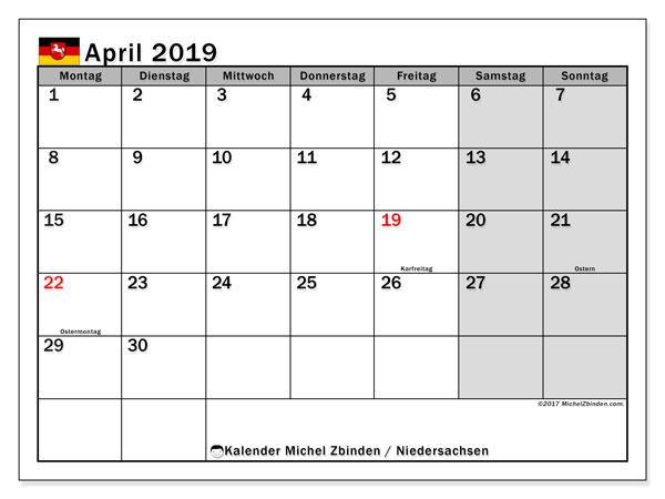 April 2019 Kalender  - Niedersachsen. Kalender zum drucken: Offizielle Feiertage.