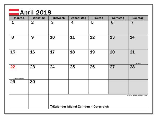 Kalender für April 2019, mit Feiertagen in Österreich. Monatlicher Zeitplan zum kostenlosen ausdrucken.