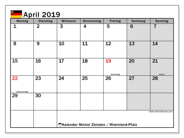 Kalender für April 2019, mit Feiertagen Rheinland-Pfalz. Kostenlos ausdruckbare Kalender.