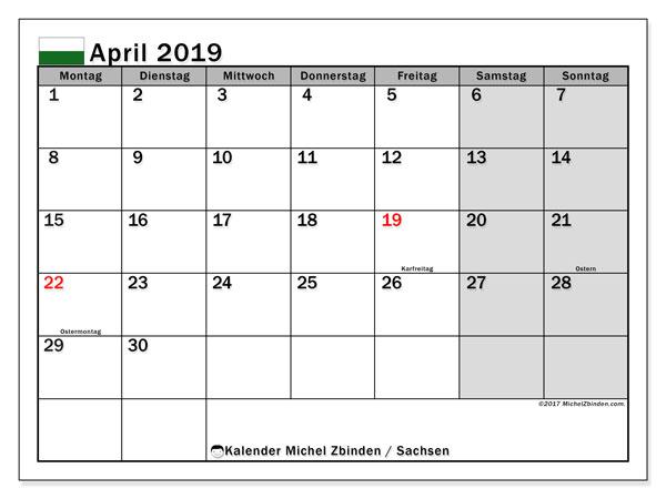 Kalender für April 2019, mit Feiertagen Sachsen. Kalender zum kostenlosen ausdrucken.