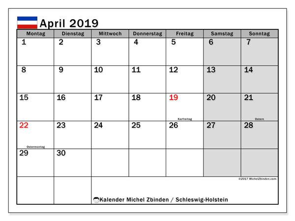 Kalender für April 2019, mit Feiertagen Schleswig-Holstein. Kostenlos ausdruckbare Planer.