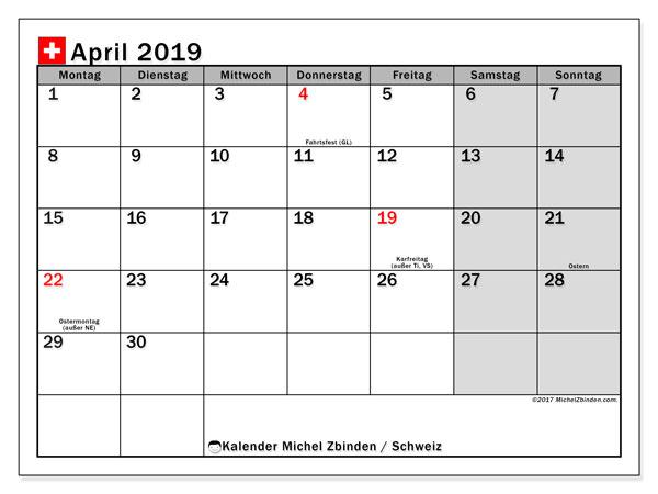 Kalender für April 2019, , mit Feiertagen in der Schweiz. Zeitplan zum kostenlosen ausdrucken.
