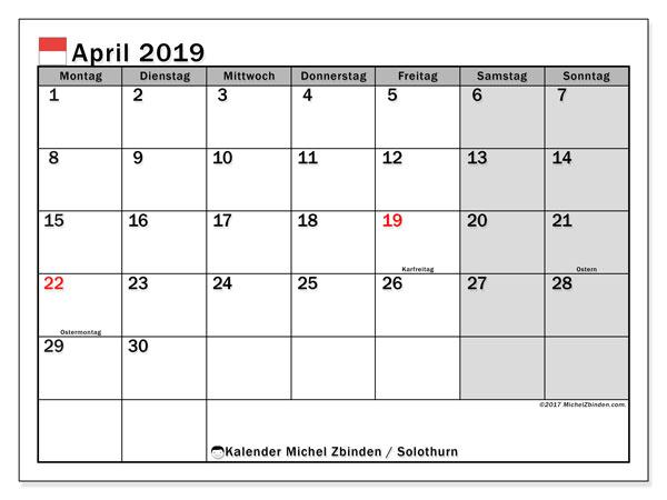 April 2019 Kalender  - Solothurn. Kalender zum drucken: Feiertage.