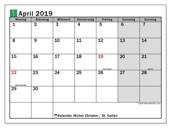 Kalender für April 2019, mit Feiertagen des Kantons St. Gallen. Kalender zum kostenlosen ausdrucken.