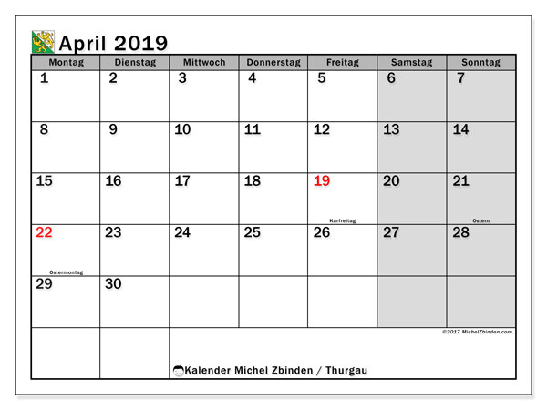 Kalender für April 2019, , mit Feiertagen des Kantons Thurgau. Kalender zum kostenlosen ausdrucken.