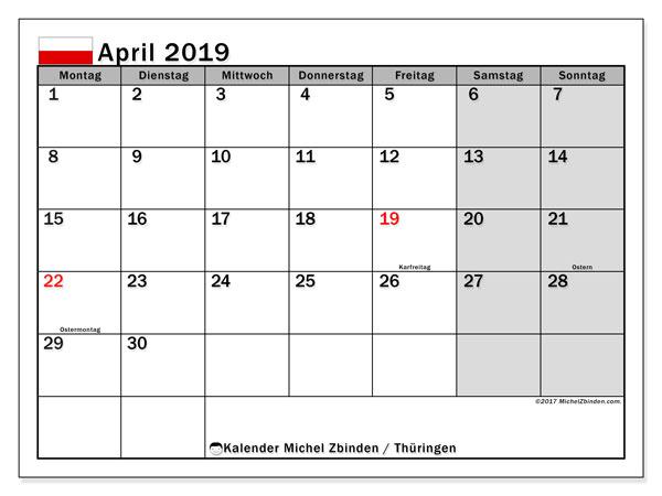 Kalender für April 2019, mit Feiertagen Thüringen. Kostenloser Zeitplan zum ausdrucken.