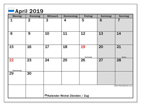 Kalender für April 2019, mit Feiertagen des Kantons Zug. Kalender zum kostenlosen ausdrucken.
