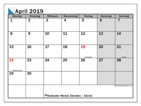 Kalender für April 2019, mit Feiertagen des Kantons Zürich. Planer zum kostenlosen ausdrucken.