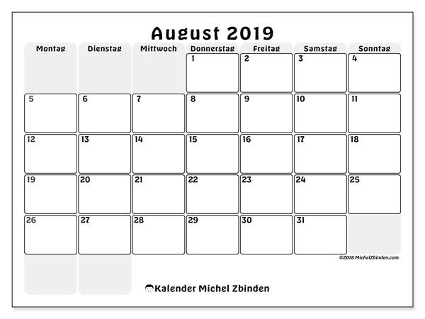 Kalender August 2019, 44MS. Monatlicher Kalender zum kostenlosen ausdrucken.