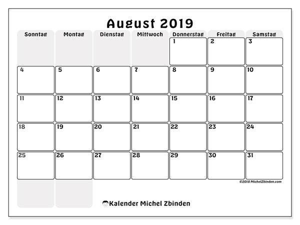 Kalender August 2019, 44SS. Monatlicher Zeitplan zum kostenlosen ausdrucken.
