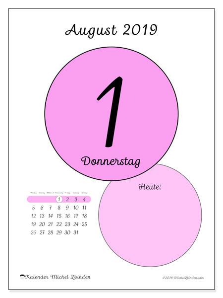 Kalender August 2019, 45-1MS. Kalender für den Tag, um kostenlos zu drucken.