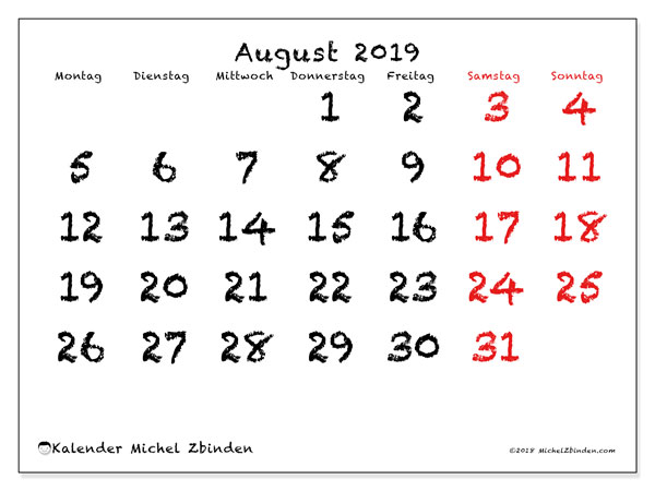 Kalender August 2019, 46MS. Monatlicher Kalender zum kostenlosen ausdrucken.