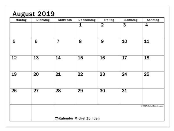 Kalender August 2019, 50MS. Kostenloser Zeitplan zum ausdrucken.