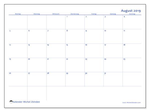 Kalender August 2019, 55MS. Monatlicher Zeitplan zum kostenlosen ausdrucken.