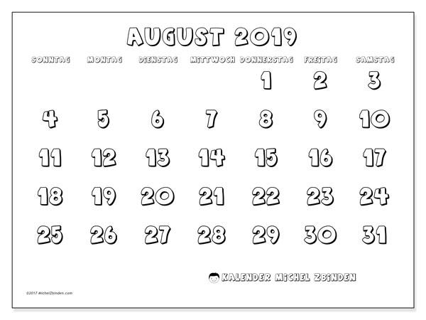 Kalender August 2019, 56SS. Kostenloser Zeitplan zum ausdrucken.