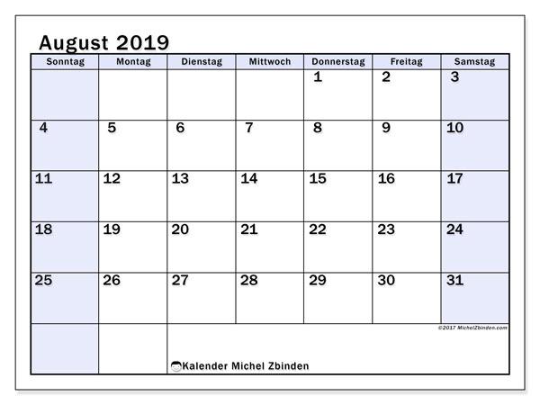Kalender August 2019, 57SS. Kostenloser Planer zum ausdrucken.