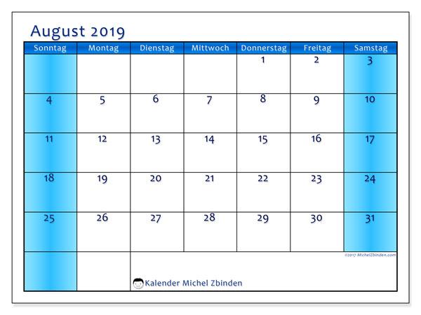 Kalender August 2019, 58SS. Kalender für den Monat zum kostenlosen ausdrucken.