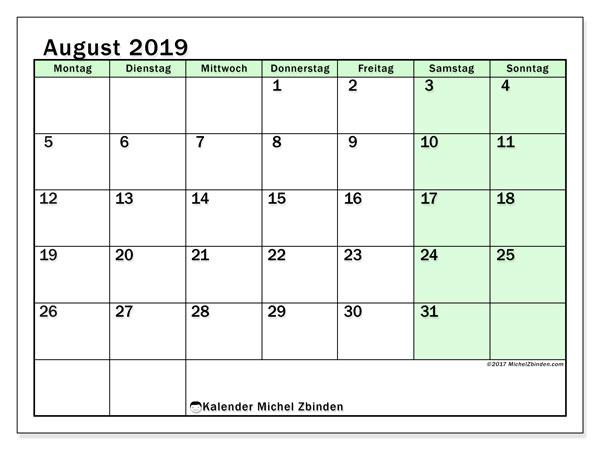 Kalender August 2019, 60MS. Monatskalender zum kostenlosen ausdrucken.