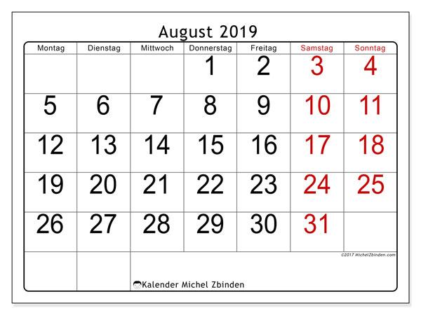 Kalender August 2019, 62MS. Kalender für den Monat zum kostenlosen ausdrucken.
