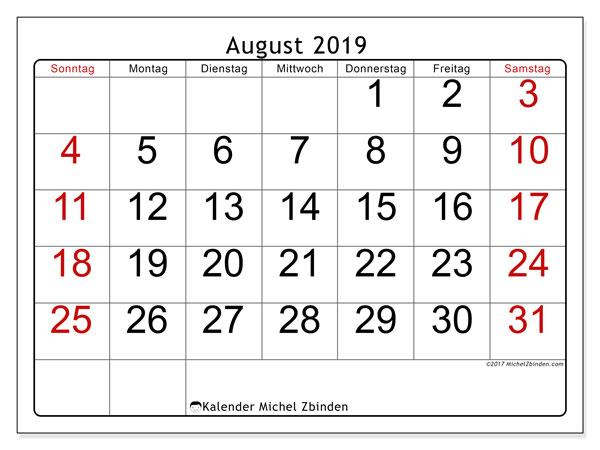 Kalender August 2019, 62SS. Kostenloser Zeitplan zum ausdrucken.