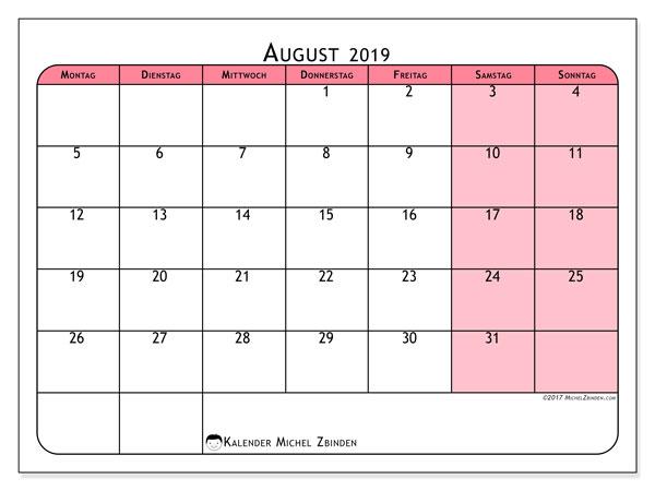 August 2019 Kalender  - 64MS. Kalender zum drucken: monatlicher Zeitplan.