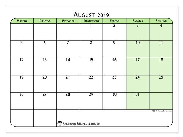Kalender August 2019, 65MS. Kostenlos ausdruckbare Kalender.