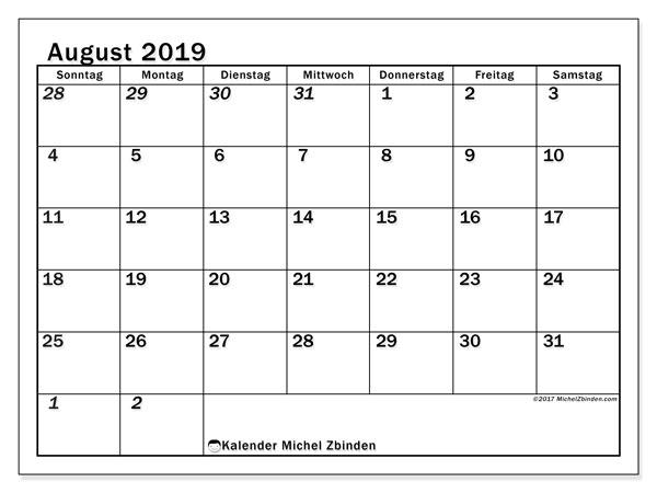 Kalender August 2019, 66SS. Kostenloser Planer zum ausdrucken.