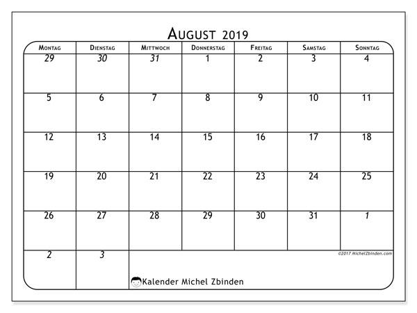 Kalender August 2019, 67MS. Kostenlos ausdruckbare Kalender.