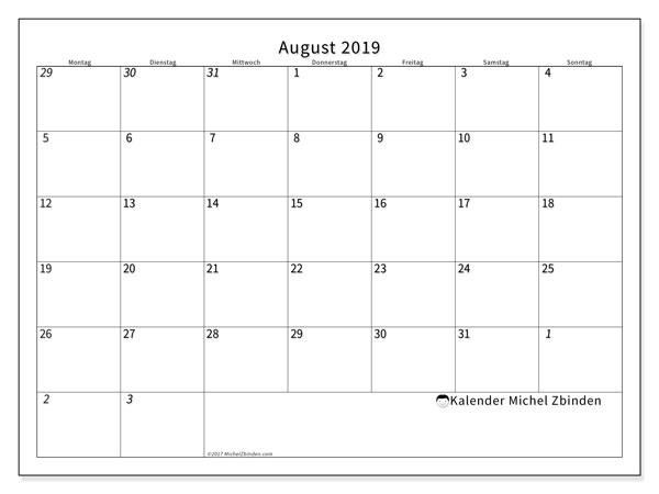 Kalender August 2019, 70MS. Kostenloser Planer zum ausdrucken.