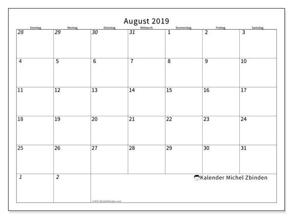 Kalender August 2019, 70SS. Monatlicher Zeitplan zum kostenlosen ausdrucken.