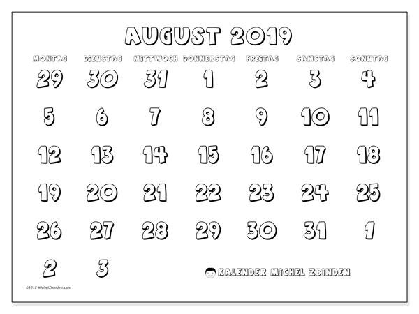 Kalender August 2019, 71MS. Monatlicher Kalender zum kostenlosen ausdrucken.
