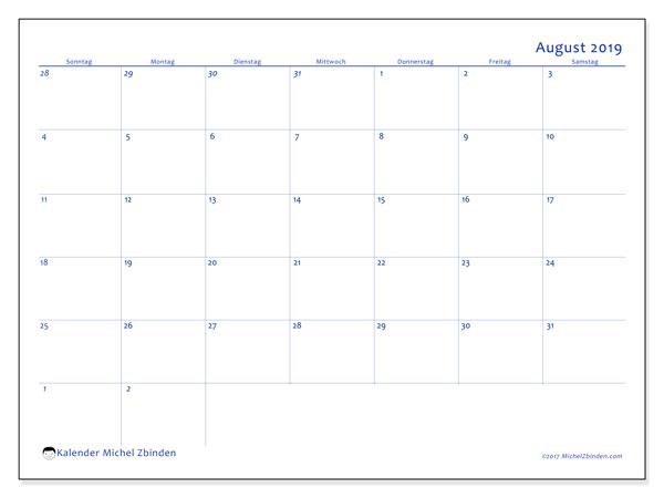 Kalender August 2019, 73SS. Zeitplan zum kostenlosen ausdrucken.